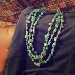 3 strand turquoise color necklace (4/$20)